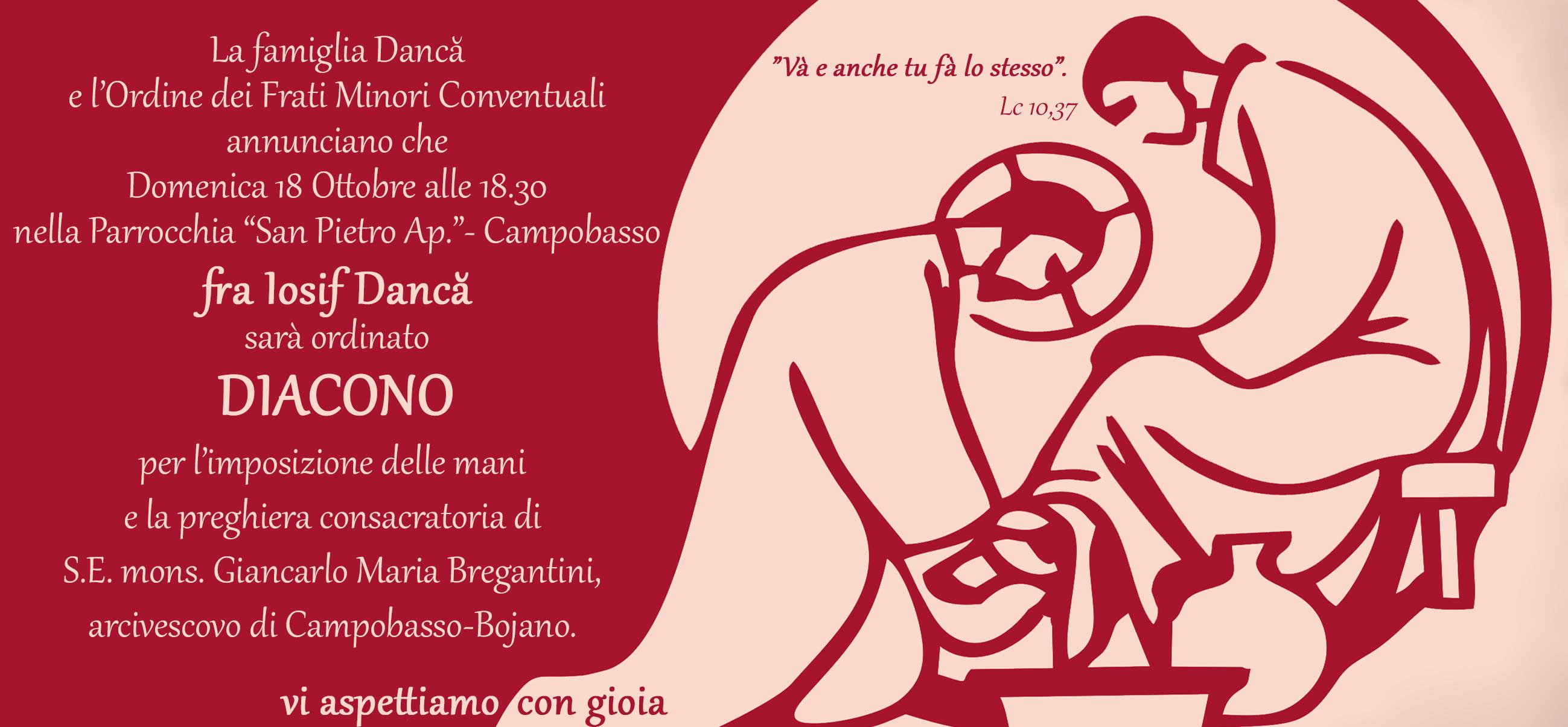 Ordinazione diaconale di fra Iosif Dancă