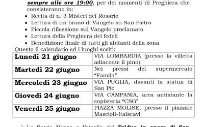 Avviso Festività San Pietro 2021